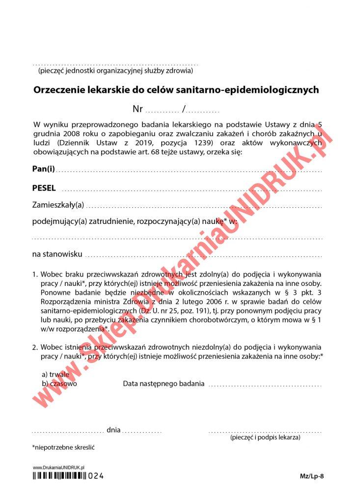 024 Orzeczenie do celów sanitarno-epidemiologicznych
