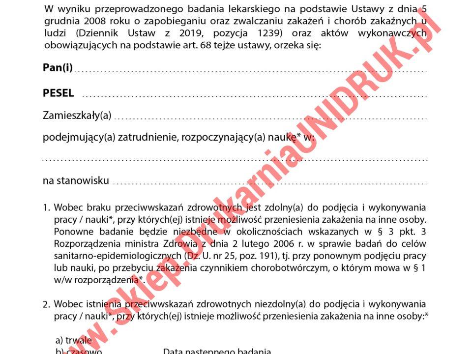 024 Orzeczenie do celów sanitarno-epidemiologicznych druki medyczne