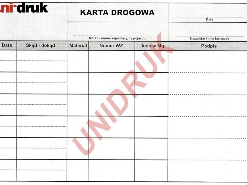 Karta drogowa samokopiująca drukarnia Piotrków